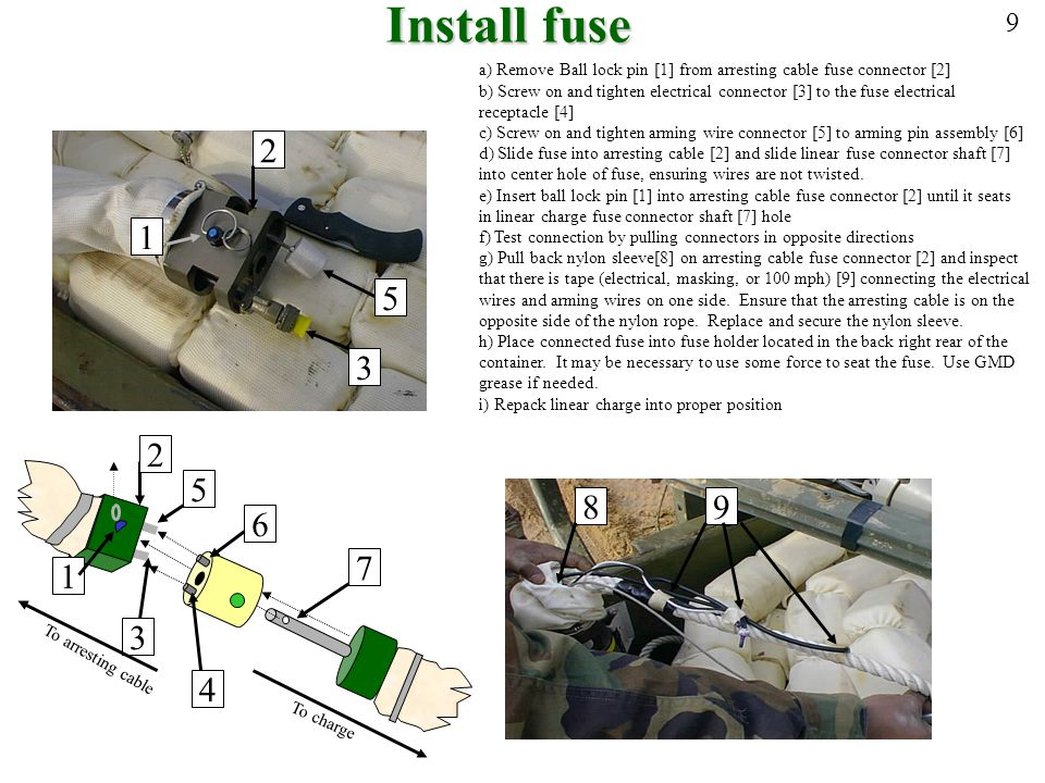 Install fuse 9. a) Remove Ball lock pin [1] from arresting cable fuse connector [2]